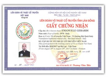 Certificato Lien Doan Vo Thuat Co Truyen Vietnam
