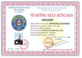 Certificato Vo duong Tran Hung Dao